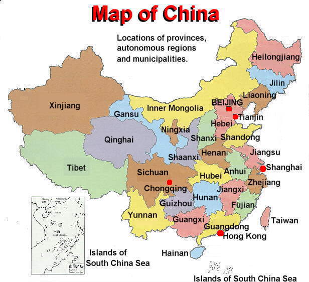 Map of China in English